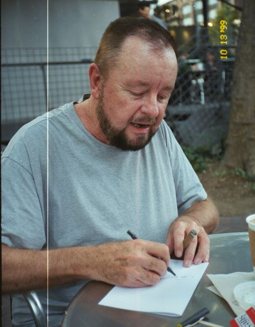 Ingo Swann jotting down thoughts, 1999